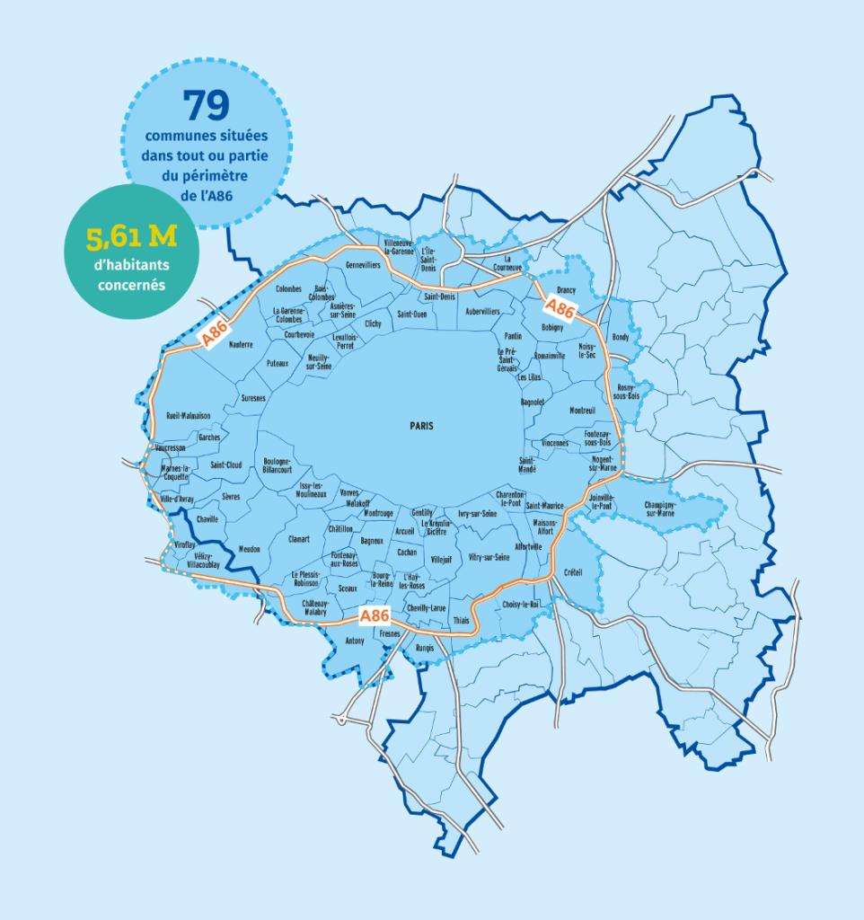 Périmètre de la zone à faibles émissions (ZFE), mise en place le 1er juillet 2019.