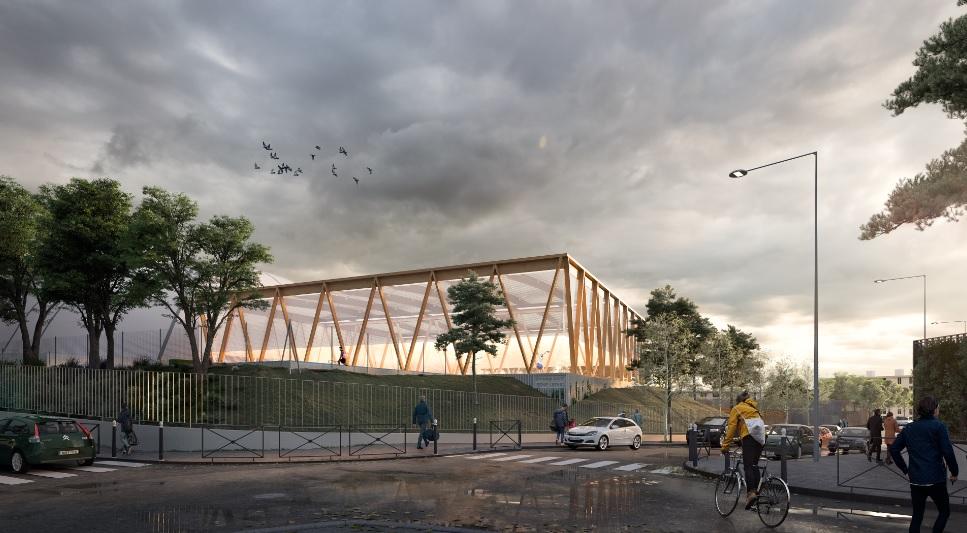 Le chantier d'aménagement des courts de tennis du complexe René-Leduc.